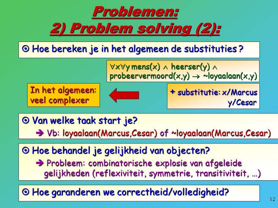 12 Problemen: 2) Problem solving (2):  Hoe bereken je in het algemeen de substituties ?  x  y mens(x)  heerser(y)  probeervermoord(x,y)  ~loyaal