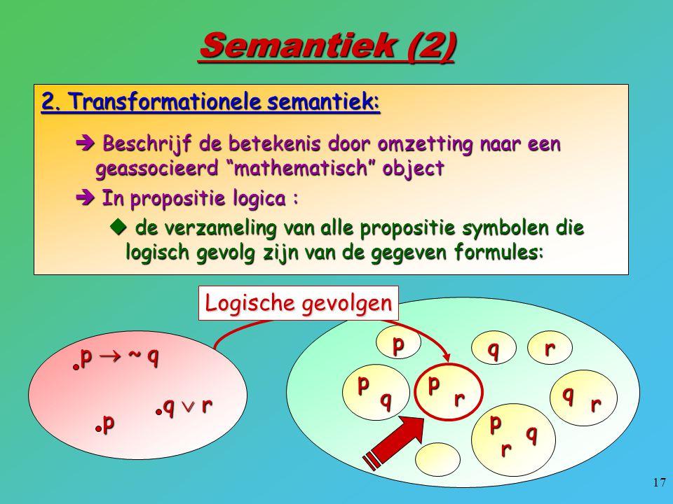 """17 Semantiek (2) 2. Transformationele semantiek:  Beschrijf de betekenis door omzetting naar een geassocieerd """"mathematisch"""" object  In propositie l"""