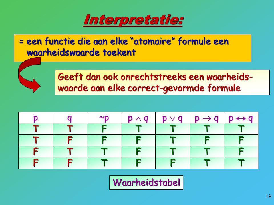 """19 Interpretatie: = een functie die aan elke """"atomaire"""" formule een waarheidswaarde toekent = een functie die aan elke """"atomaire"""" formule een waarheid"""