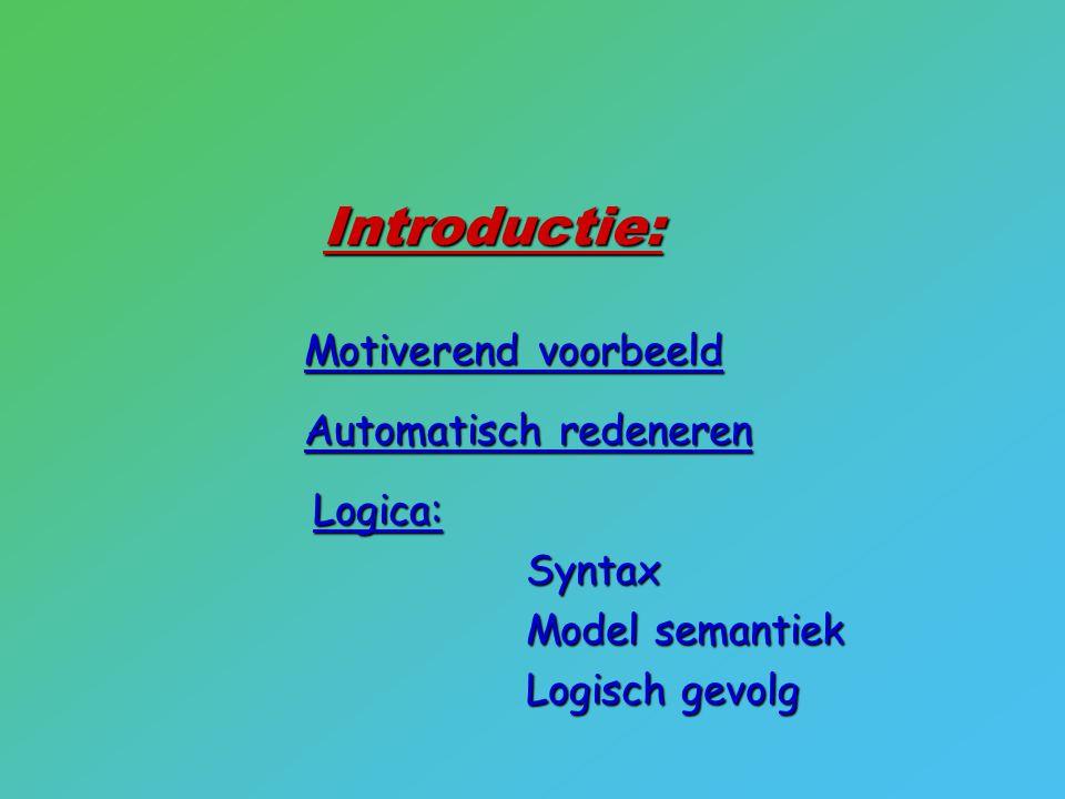 Introductie: Motiverend voorbeeld Automatisch redeneren Logica:Syntax Model semantiek Logisch gevolg