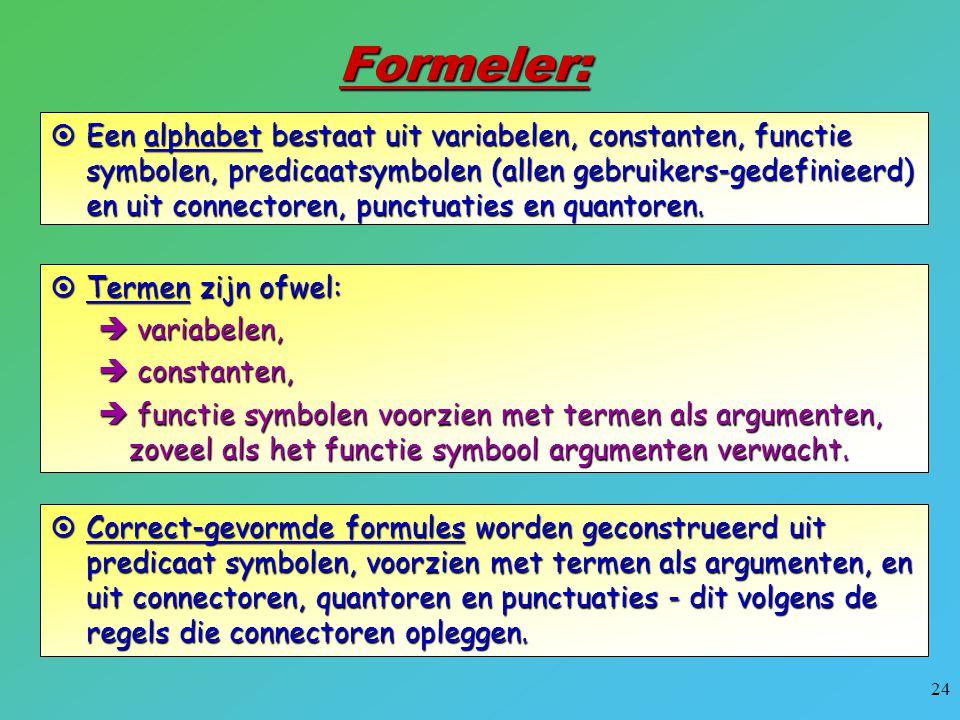 24 Formeler:  Een alphabet bestaat uit variabelen, constanten, functie symbolen, predicaatsymbolen (allen gebruikers-gedefinieerd) en uit connectoren