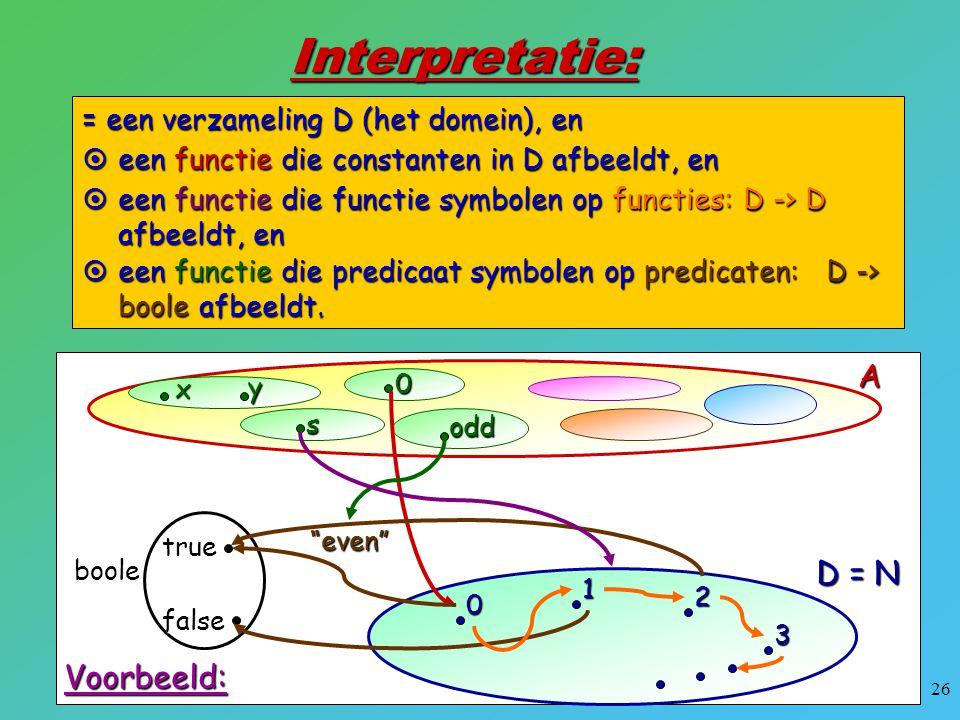 26 Interpretatie: = een verzameling D (het domein), en A0 s x y odd Voorbeeld: D = N 0 1 2 3  een functie die constanten in D afbeeldt, en  een func