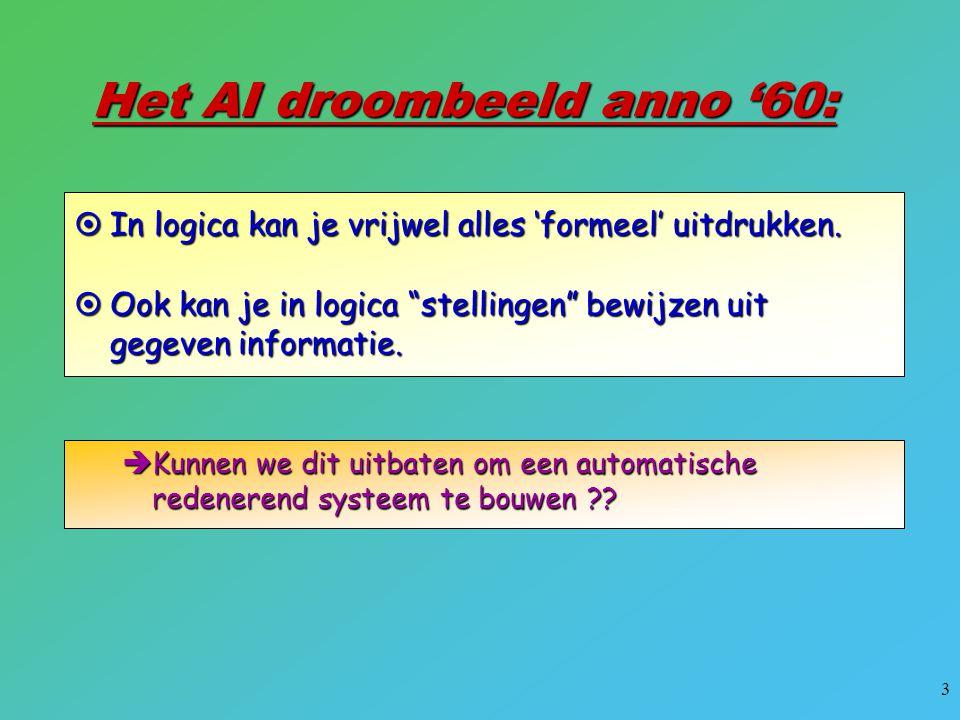 """3 Het AI droombeeld anno '60:  In logica kan je vrijwel alles 'formeel' uitdrukken.  Ook kan je in logica """"stellingen"""" bewijzen uit gegeven informat"""