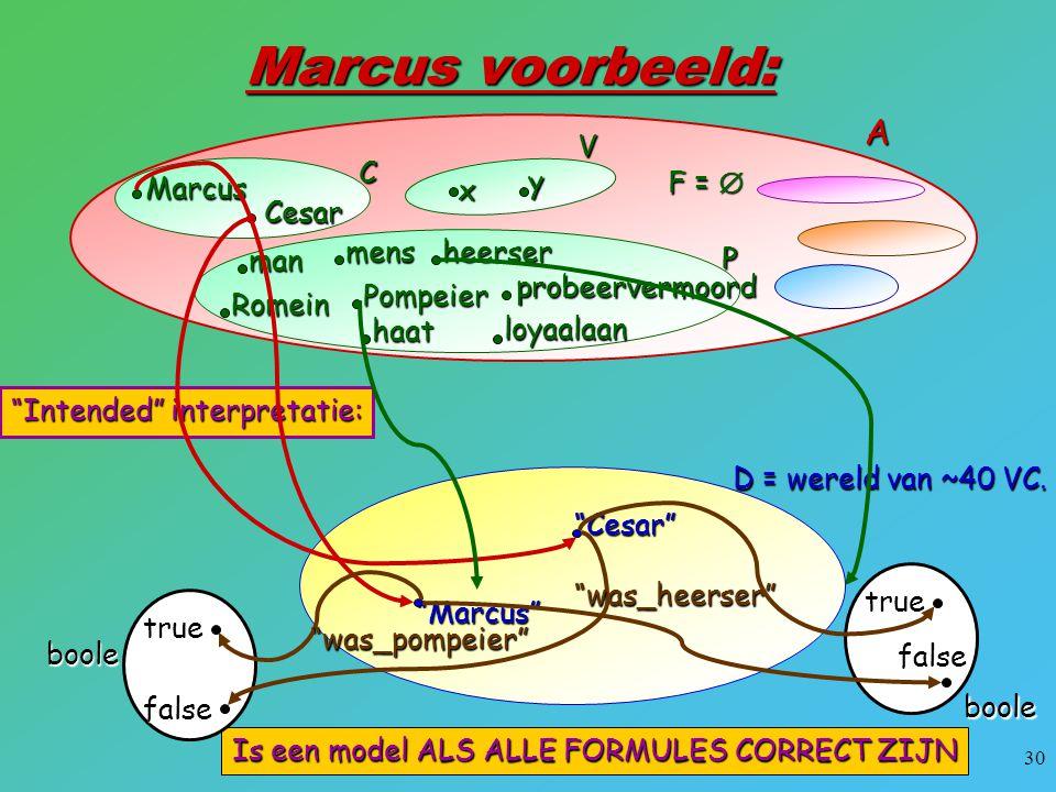 """30 Marcus voorbeeld: x y V Marcus Cesar CA F =  man mensheerser Romein Pompeier haat loyaalaan probeervermoord P D = wereld van ~40 VC. """"Marcus"""" """"Ces"""