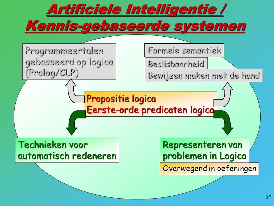 37 Artificiele Intelligentie / Kennis-gebaseerde systemen Propositie logica Eerste-orde predicaten logica Formele semantiek Beslisbaarheid Bewijzen ma