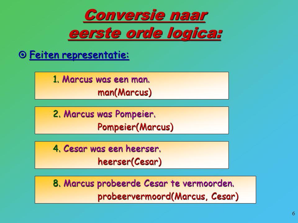 6 Conversie naar eerste orde logica:  Feiten representatie: 1. Marcus was een man. man(Marcus) 2. Marcus was Pompeier. Pompeier(Marcus) 4. Cesar was