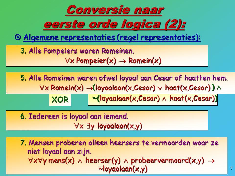 7 Conversie naar eerste orde logica (2):  Algemene representaties (regel representaties): 3. Alle Pompeiers waren Romeinen.  x Pompeier(x)  Romein(