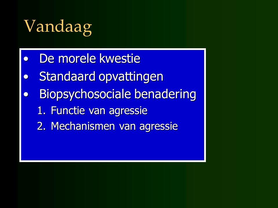 Vandaag De morele kwestieDe morele kwestie Standaard opvattingenStandaard opvattingen Biopsychosociale benaderingBiopsychosociale benadering 1.Functie van agressie 2.Mechanismen van agressie