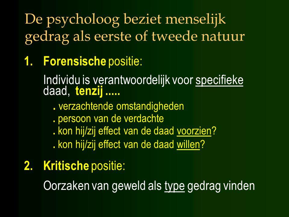 De psycholoog beziet menselijk gedrag als eerste of tweede natuur 1.Forensische positie: Individu is verantwoordelijk voor specifieke daad, tenzij......