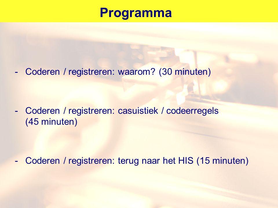 Programma -Coderen / registreren: waarom? (30 minuten) -Coderen / registreren: casuistiek / codeerregels (45 minuten) -Coderen / registreren: terug na