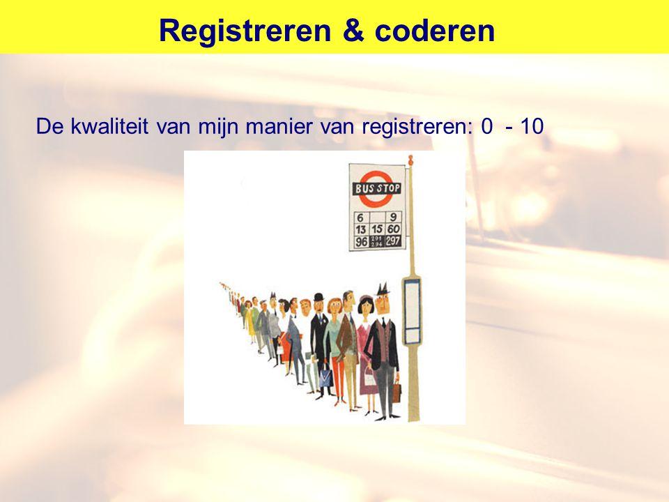 Registreren & coderen De kwaliteit van mijn manier van registreren: 0 - 10
