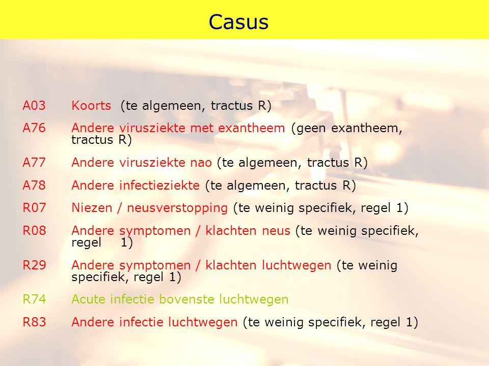 Casus A03Koorts(te algemeen, tractus R) A76Andere virusziekte met exantheem (geen exantheem, tractus R) A77Andere virusziekte nao (te algemeen, tractu