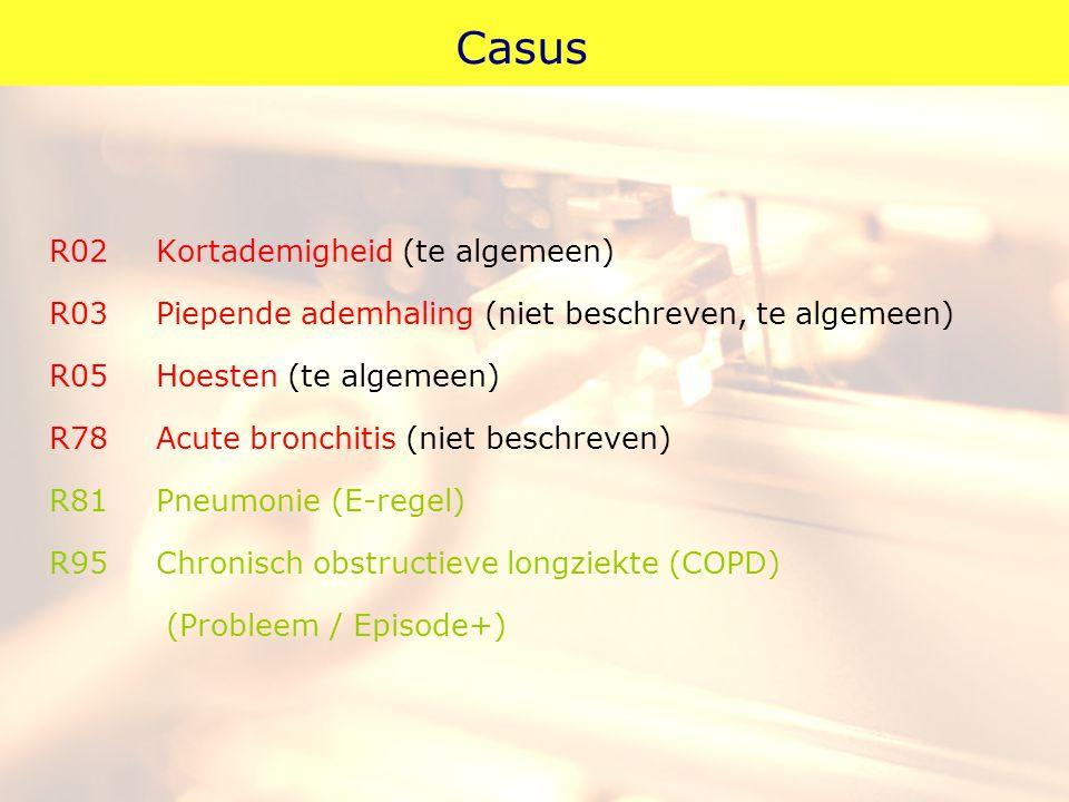 Casus R02Kortademigheid (te algemeen) R03Piepende ademhaling (niet beschreven, te algemeen) R05Hoesten (te algemeen) R78Acute bronchitis (niet beschre