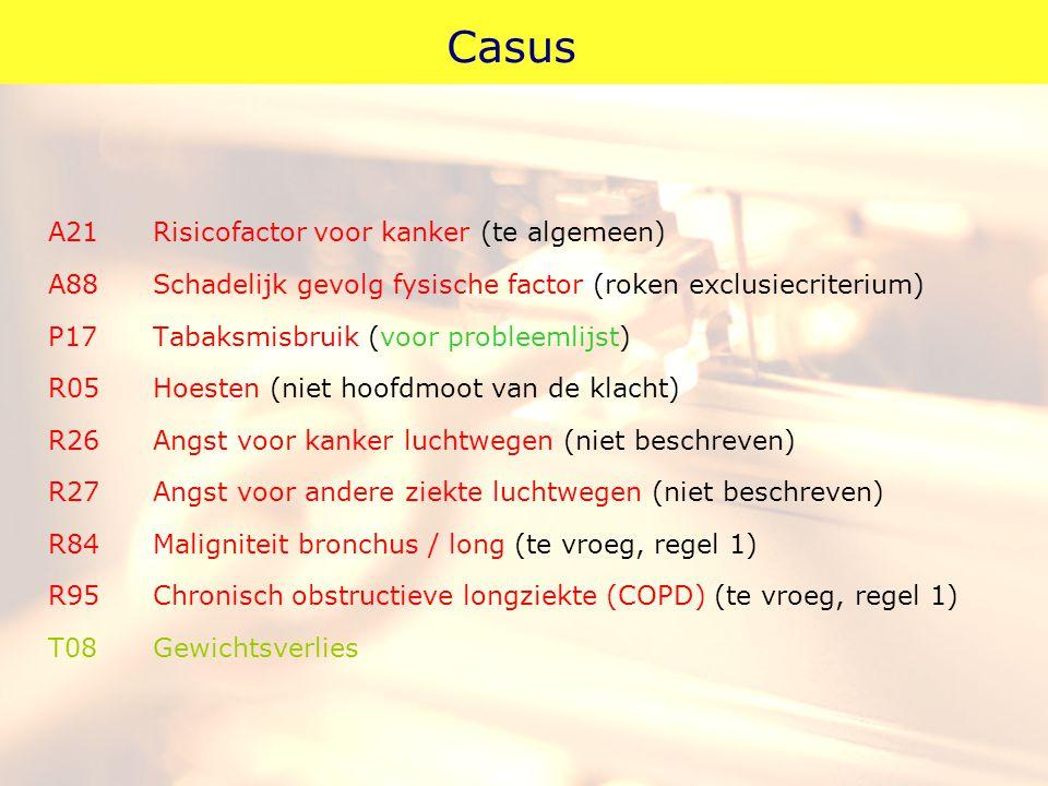 Casus A21Risicofactor voor kanker (te algemeen) A88Schadelijk gevolg fysische factor (roken exclusiecriterium) P17Tabaksmisbruik (voor probleemlijst)
