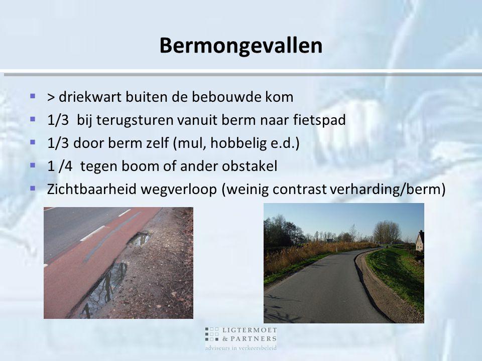 Bermongevallen  > driekwart buiten de bebouwde kom  1/3 bij terugsturen vanuit berm naar fietspad  1/3 door berm zelf (mul, hobbelig e.d.)  1 /4 t
