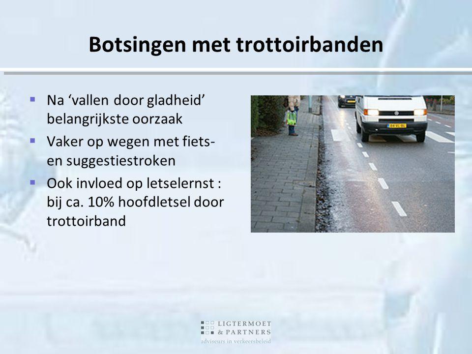 Botsingen met trottoirbanden  Na 'vallen door gladheid' belangrijkste oorzaak  Vaker op wegen met fiets- en suggestiestroken  Ook invloed op letsel