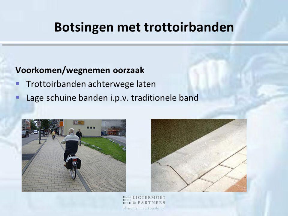Voorkomen/wegnemen oorzaak  Trottoirbanden achterwege laten  Lage schuine banden i.p.v. traditionele band Botsingen met trottoirbanden