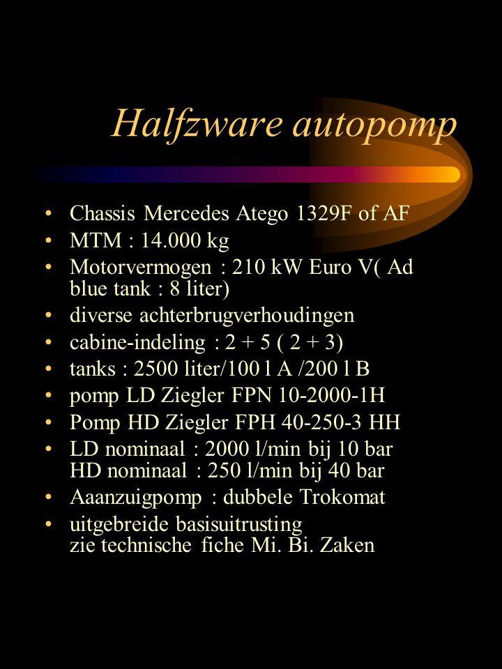 Chassis Mercedes Atego 1329F of AF MTM : 14.000 kg Motorvermogen : 210 kW Euro V( Ad blue tank : 8 liter) diverse achterbrugverhoudingen cabine-indeling : 2 + 5 ( 2 + 3) tanks : 2500 liter/100 l A /200 l B pomp LD Ziegler FPN 10-2000-1H Pomp HD Ziegler FPH 40-250-3 HH LD nominaal : 2000 l/min bij 10 bar HD nominaal : 250 l/min bij 40 bar Aaanzuigpomp : dubbele Trokomat uitgebreide basisuitrusting zie technische fiche Mi.