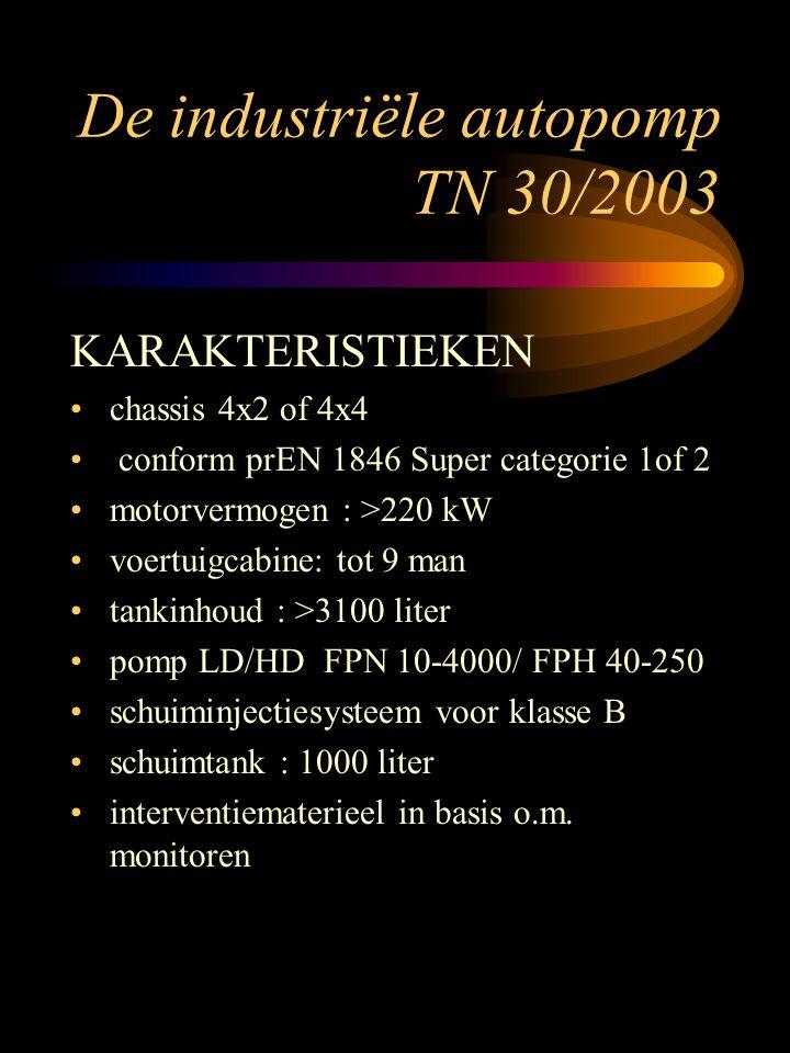 De industriële autopomp TN 30/2003 KARAKTERISTIEKEN chassis 4x2 of 4x4 conform prEN 1846 Super categorie 1of 2 motorvermogen : >220 kW voertuigcabine: tot 9 man tankinhoud : >3100 liter pomp LD/HD FPN 10-4000/ FPH 40-250 schuiminjectiesysteem voor klasse B schuimtank : 1000 liter interventiematerieel in basis o.m.
