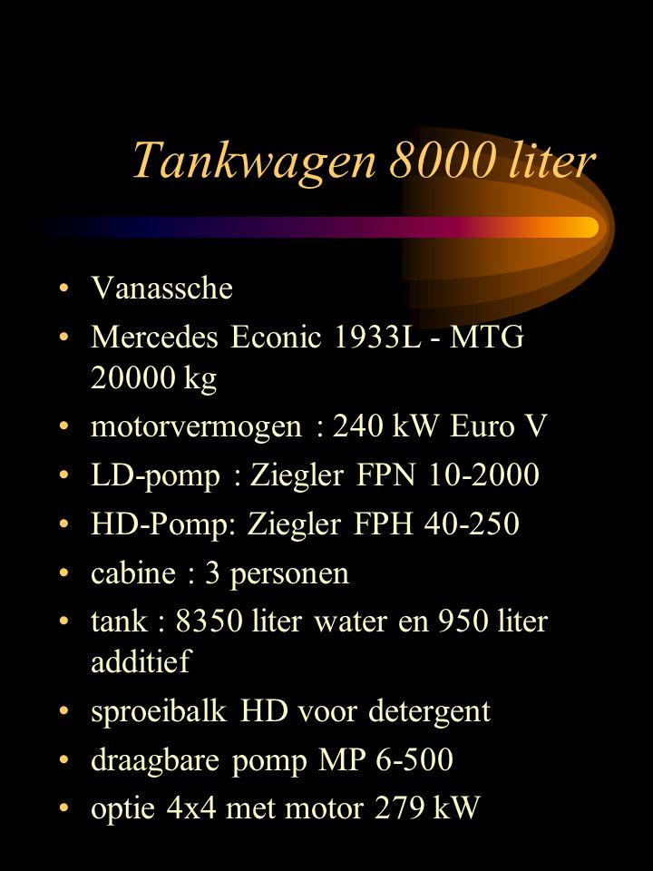 Tankwagen 8000 liter Vanassche Mercedes Econic 1933L - MTG 20000 kg motorvermogen : 240 kW Euro V LD-pomp : Ziegler FPN 10-2000 HD-Pomp: Ziegler FPH 40-250 cabine : 3 personen tank : 8350 liter water en 950 liter additief sproeibalk HD voor detergent draagbare pomp MP 6-500 optie 4x4 met motor 279 kW