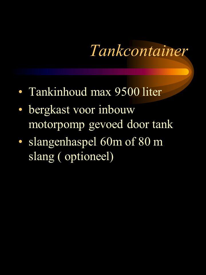 Tankcontainer Tankinhoud max 9500 liter bergkast voor inbouw motorpomp gevoed door tank slangenhaspel 60m of 80 m slang ( optioneel)