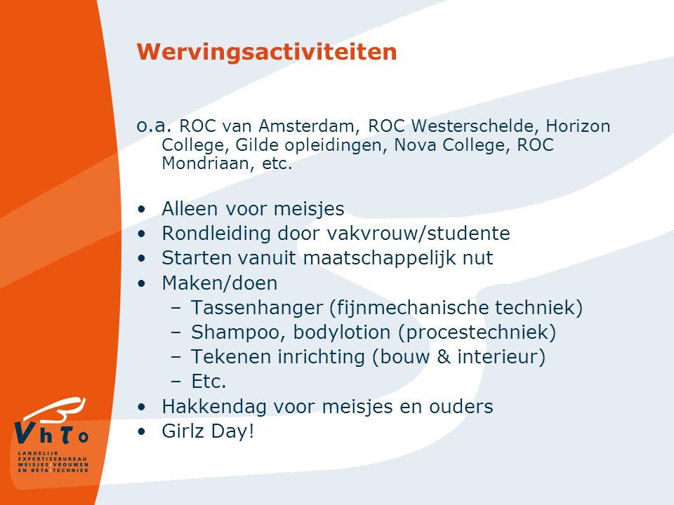 Wervingsactiviteiten o.a. ROC van Amsterdam, ROC Westerschelde, Horizon College, Gilde opleidingen, Nova College, ROC Mondriaan, etc. Alleen voor meis