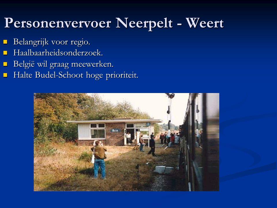 Personenvervoer Neerpelt - Weert Belangrijk voor regio. Belangrijk voor regio. Haalbaarheidsonderzoek. Haalbaarheidsonderzoek. België wil graag meewer