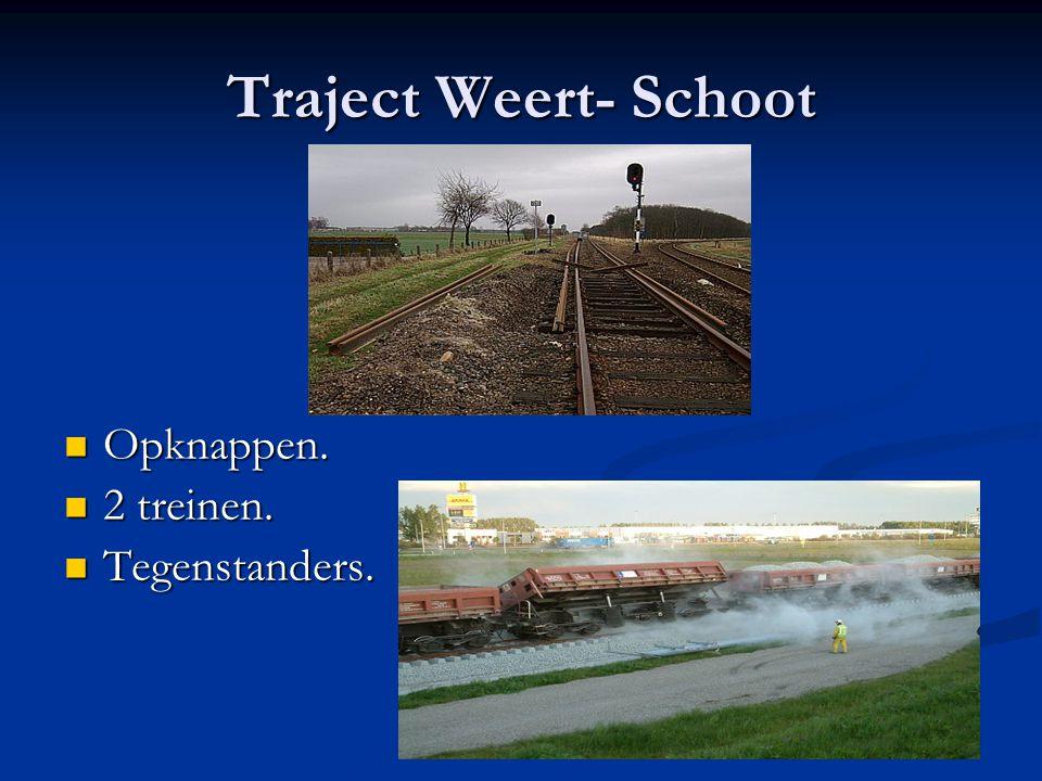 Traject Weert- Schoot Opknappen. Opknappen. 2 treinen. 2 treinen. Tegenstanders. Tegenstanders.