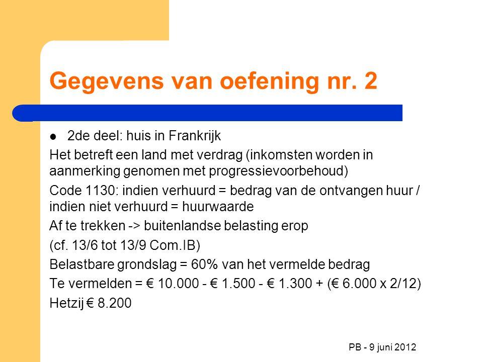 Gegevens van oefening nr. 2 2de deel: huis in Frankrijk Het betreft een land met verdrag (inkomsten worden in aanmerking genomen met progressievoorbeh