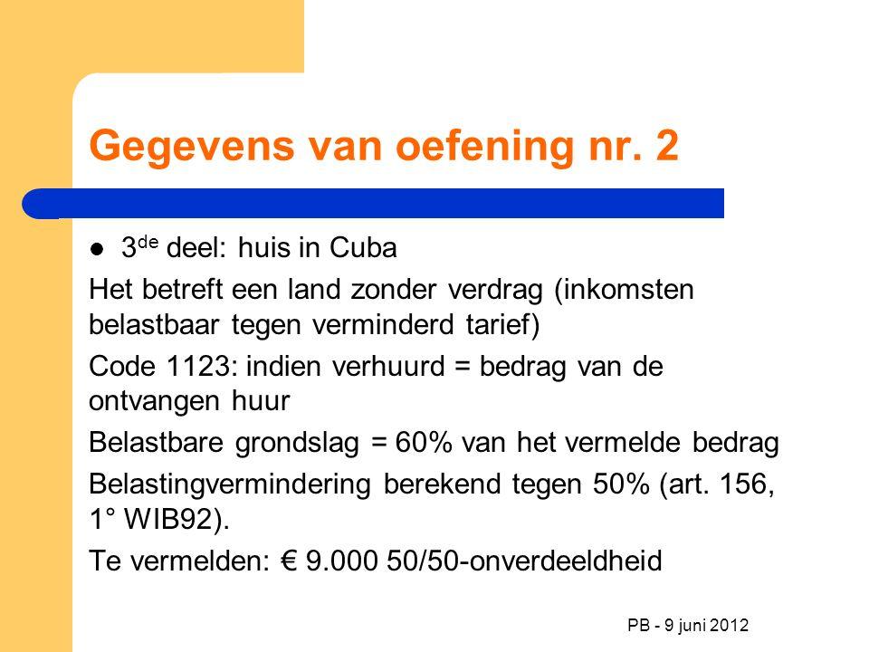 Gegevens van oefening nr. 2 3 de deel: huis in Cuba Het betreft een land zonder verdrag (inkomsten belastbaar tegen verminderd tarief) Code 1123: indi