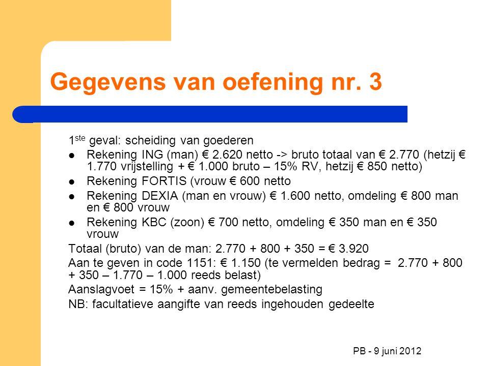 PB - 9 juni 2012 Gegevens van oefening nr. 3 1 ste geval: scheiding van goederen Rekening ING (man) € 2.620 netto -> bruto totaal van € 2.770 (hetzij