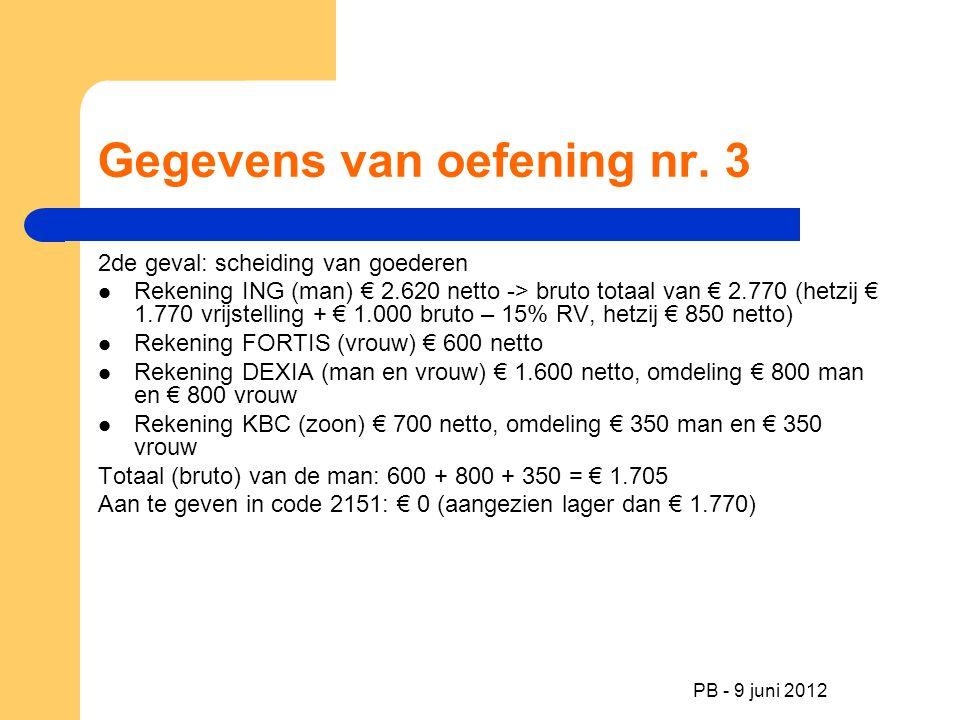 PB - 9 juni 2012 Gegevens van oefening nr. 3 2de geval: scheiding van goederen Rekening ING (man) € 2.620 netto -> bruto totaal van € 2.770 (hetzij €