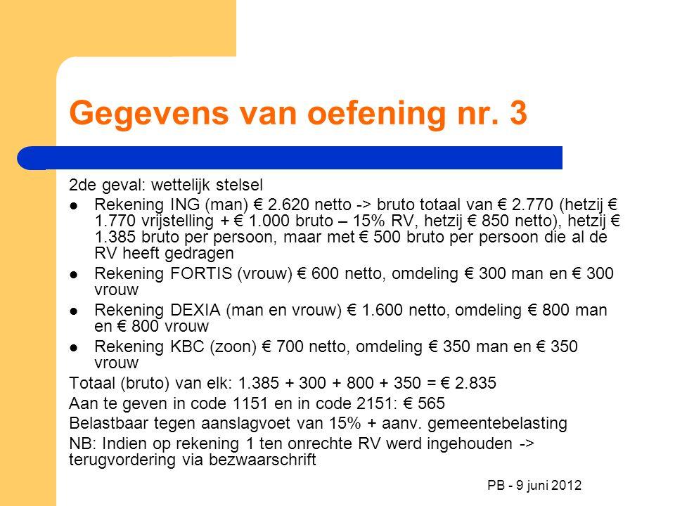 PB - 9 juni 2012 Gegevens van oefening nr. 3 2de geval: wettelijk stelsel Rekening ING (man) € 2.620 netto -> bruto totaal van € 2.770 (hetzij € 1.770