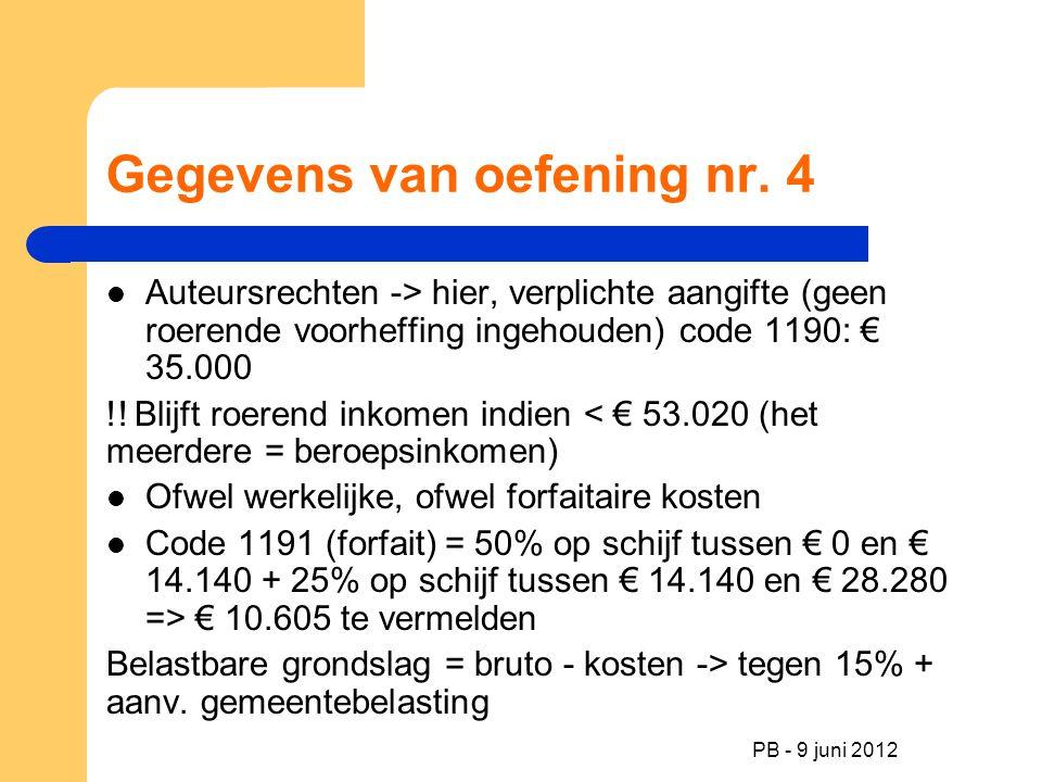 PB - 9 juni 2012 Gegevens van oefening nr. 4 Auteursrechten -> hier, verplichte aangifte (geen roerende voorheffing ingehouden) code 1190: € 35.000 !!