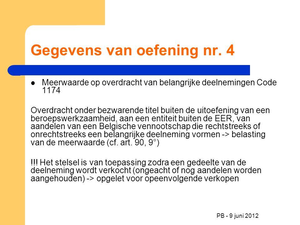 PB - 9 juni 2012 Gegevens van oefening nr. 4 Meerwaarde op overdracht van belangrijke deelnemingen Code 1174 Overdracht onder bezwarende titel buiten