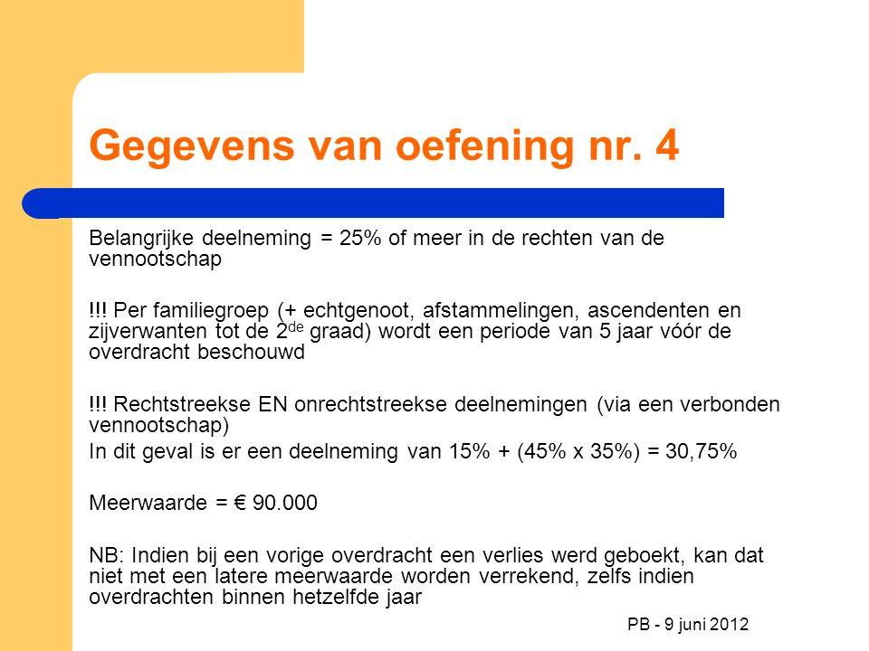 PB - 9 juni 2012 Gegevens van oefening nr. 4 Belangrijke deelneming = 25% of meer in de rechten van de vennootschap !!! Per familiegroep (+ echtgenoot