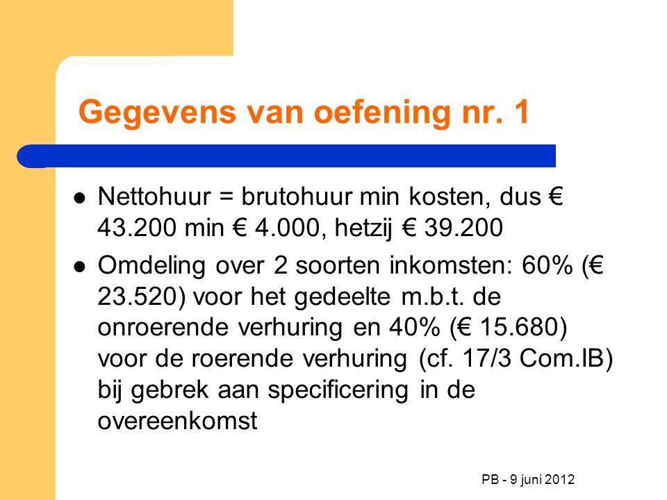 PB - 9 juni 2012 Gegevens van oefening nr. 1 Nettohuur = brutohuur min kosten, dus € 43.200 min € 4.000, hetzij € 39.200 Omdeling over 2 soorten inkom