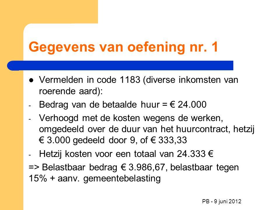 PB - 9 juni 2012 Gegevens van oefening nr. 1 Vermelden in code 1183 (diverse inkomsten van roerende aard): - Bedrag van de betaalde huur = € 24.000 -