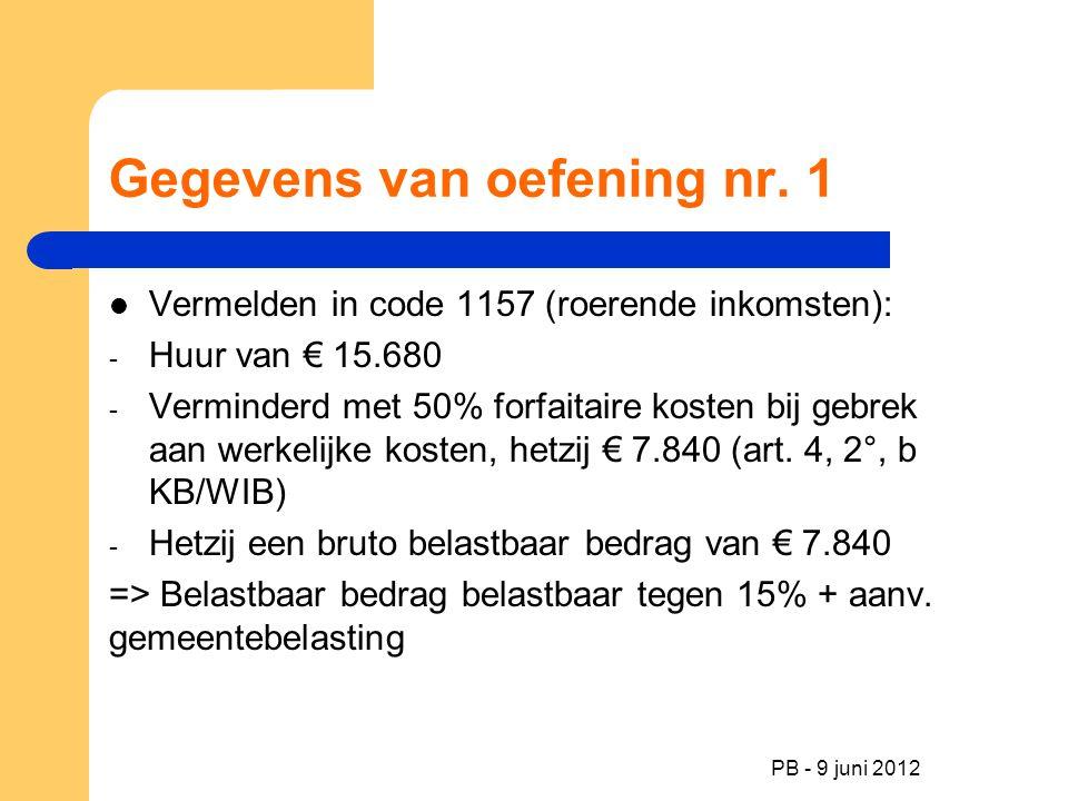 PB - 9 juni 2012 Gegevens van oefening nr. 1 Vermelden in code 1157 (roerende inkomsten): - Huur van € 15.680 - Verminderd met 50% forfaitaire kosten