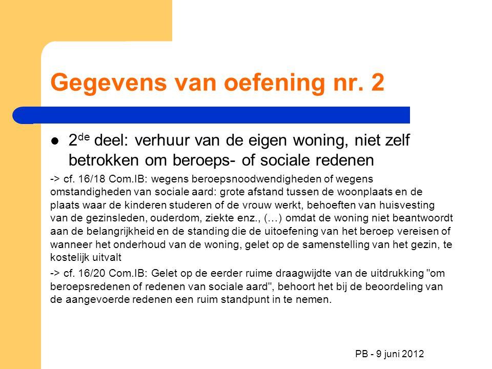 PB - 9 juni 2012 Gegevens van oefening nr. 2 2 de deel: verhuur van de eigen woning, niet zelf betrokken om beroeps- of sociale redenen -> cf. 16/18 C