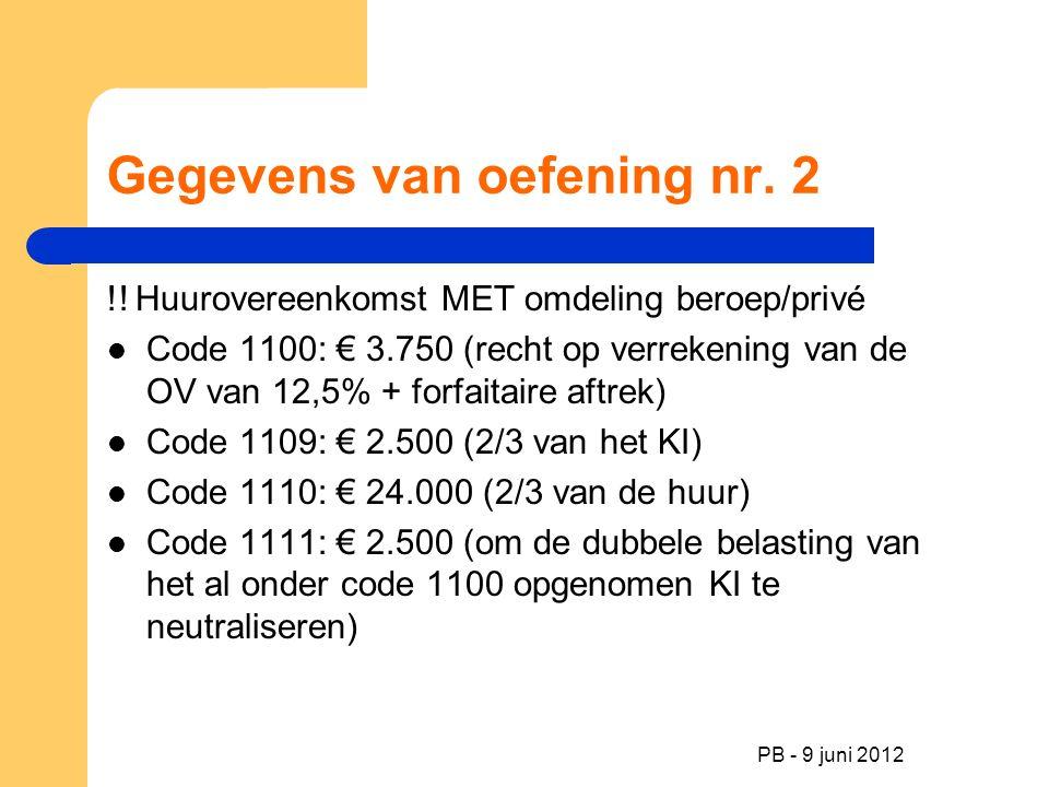 PB - 9 juni 2012 Gegevens van oefening nr. 2 !! Huurovereenkomst MET omdeling beroep/privé Code 1100: € 3.750 (recht op verrekening van de OV van 12,5