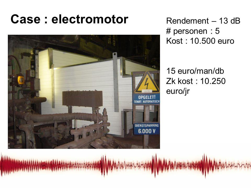 Case : electromotor Rendement – 13 dB # personen : 5 Kost : 10.500 euro 15 euro/man/db Zk kost : 10.250 euro/jr