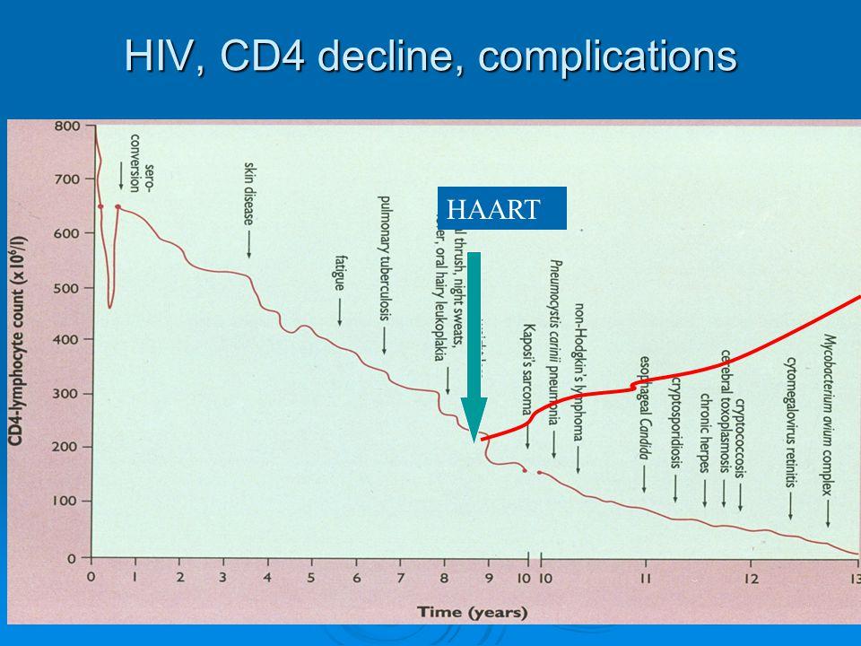 HIV, CD4 decline, complications HAART