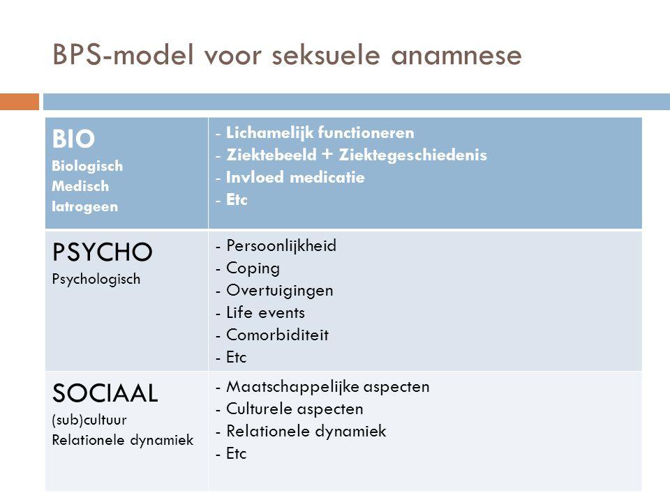 BPS-model voor seksuele anamnese BIO Biologisch Medisch Iatrogeen - Lichamelijk functioneren - Ziektebeeld + Ziektegeschiedenis - Invloed medicatie - Etc PSYCHO Psychologisch - Persoonlijkheid - Coping - Overtuigingen - Life events - Comorbiditeit - Etc SOCIAAL (sub)cultuur Relationele dynamiek - Maatschappelijke aspecten - Culturele aspecten - Relationele dynamiek - Etc