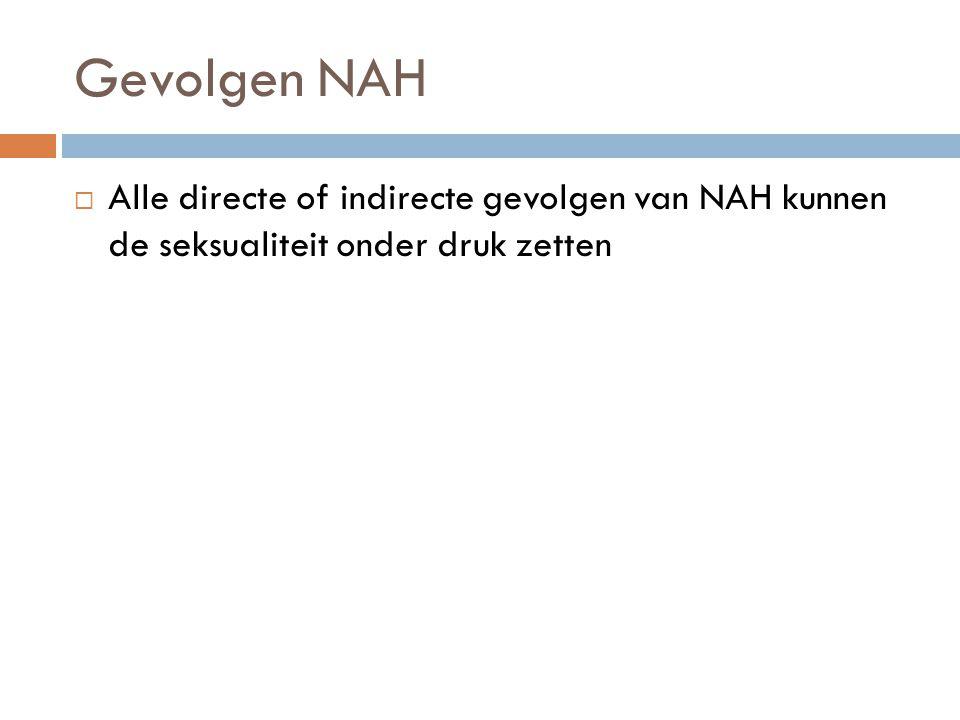 Gevolgen NAH  Alle directe of indirecte gevolgen van NAH kunnen de seksualiteit onder druk zetten
