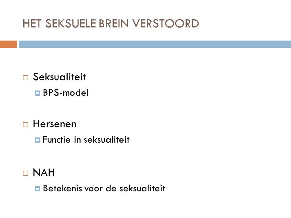HET SEKSUELE BREIN VERSTOORD  Seksualiteit  BPS-model  Hersenen  Functie in seksualiteit  NAH  Betekenis voor de seksualiteit