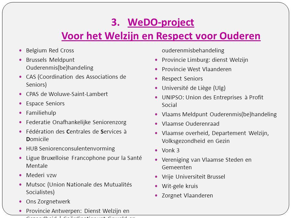 3.WeDO-project Voor het Welzijn en Respect voor Ouderen Belgium Red Cross Brussels Meldpunt Ouderenmis(be)handeling CAS (Coordination des Associations