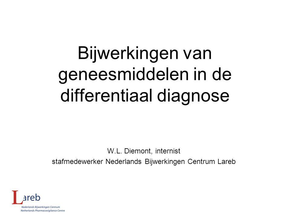 Bijwerkingen van geneesmiddelen in de differentiaal diagnose W.L. Diemont, internist stafmedewerker Nederlands Bijwerkingen Centrum Lareb