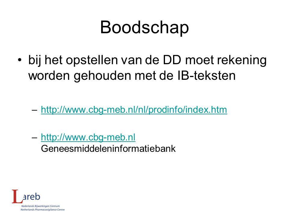Boodschap bij het opstellen van de DD moet rekening worden gehouden met de IB-teksten –http://www.cbg-meb.nl/nl/prodinfo/index.htmhttp://www.cbg-meb.n