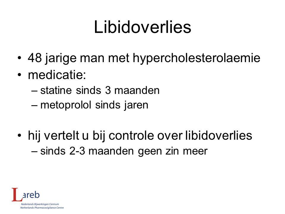 Libidoverlies 48 jarige man met hypercholesterolaemie medicatie: –statine sinds 3 maanden –metoprolol sinds jaren hij vertelt u bij controle over libi